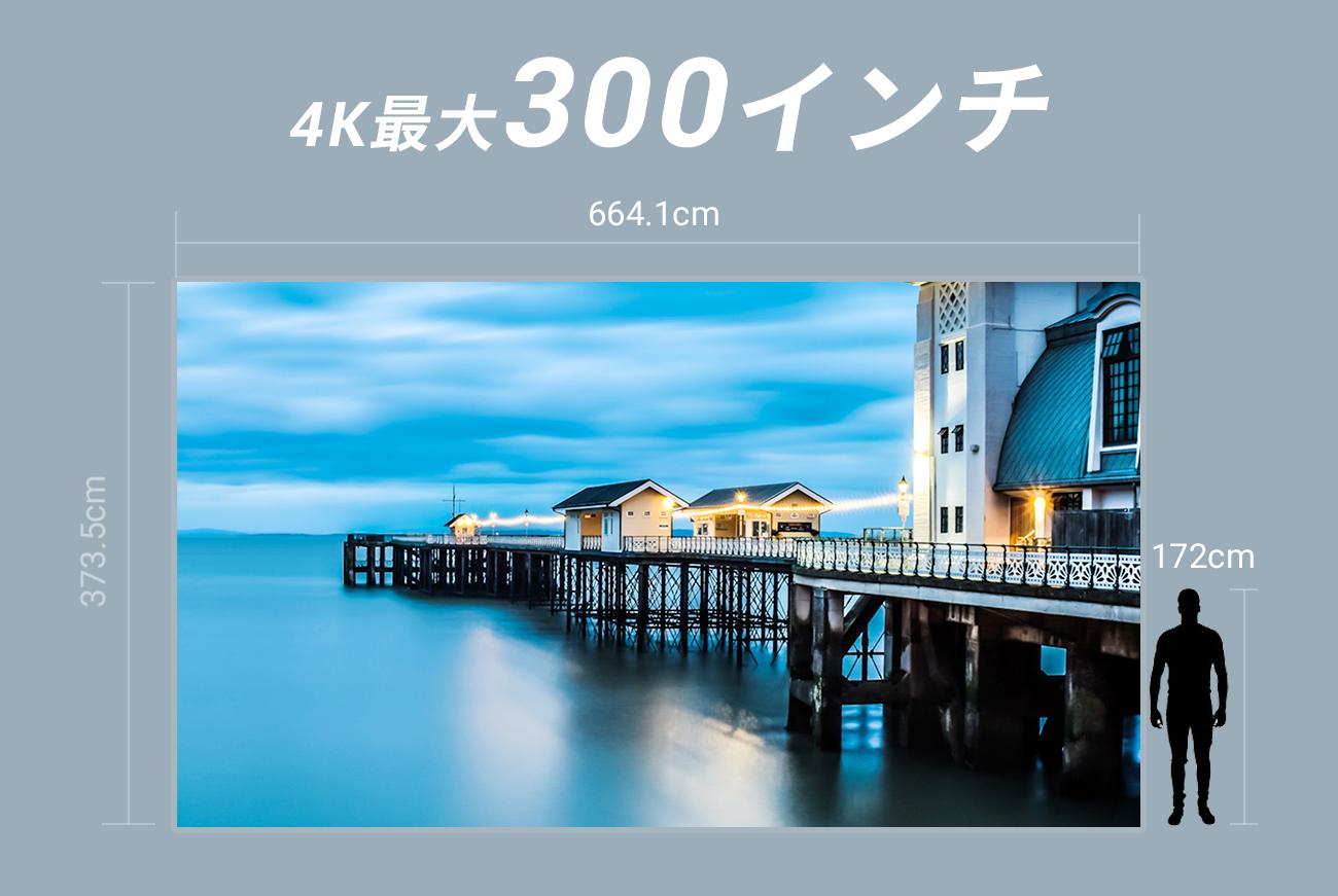 XGIMI HORIZON Proの投影サイズは300インチ 300インチは縦373.5cm×664.1cm