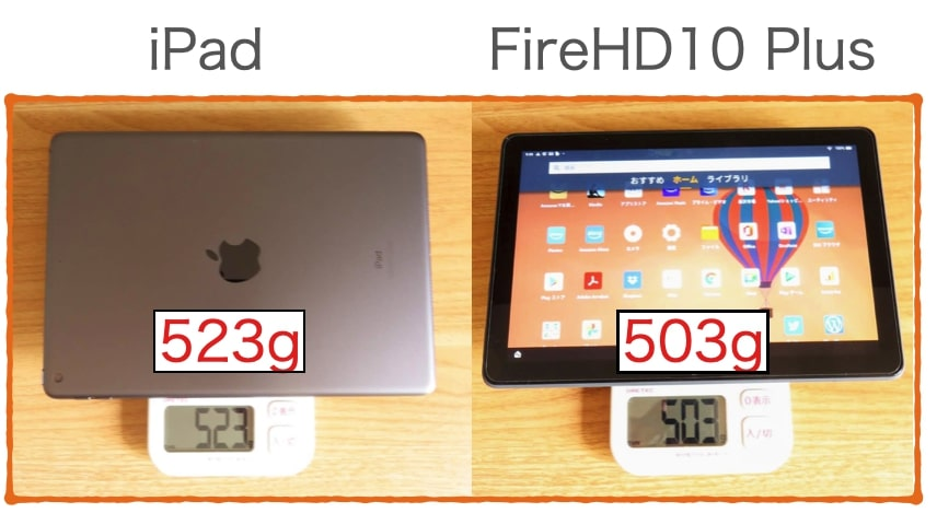 FireHD10 PlusとiPadの重さを比較